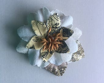 White and Orange Flower Hair Clip