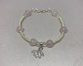 Rose Quartz  Gemstone and Swarovski Glass Pearl Beaded Charm Sterling Silver Lotus Flower Bracelet with White Moonstone Gemstone.