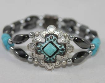 Silver Tone & Turquoise Cross High Quality Magnetic Bracelet