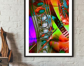 Abstract digital art in neon colors