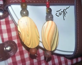 """Earrings """"GARDEN PARTY"""" stone gemstone and wood."""