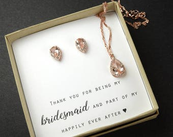 Bridesmaid Earrings Bridesmaid Jewelry Gold Bridesmaid Gift Set Bridal Jewelry Set Bridal Earrings Gold blush pink champagne morganite pink