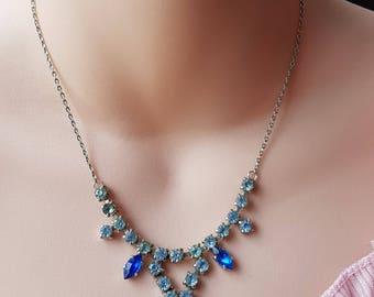 Vintage Blue Encrusted Dazzling Necklace
