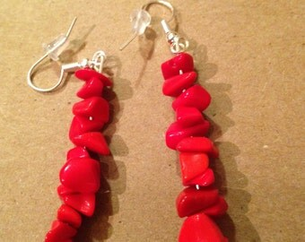Red glass chips ear rings
