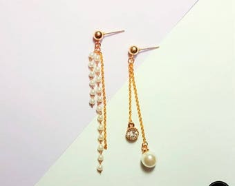 Pearl Crystal Chain Long Earring, Simple Daily Cute Luxury Lovely Mini Handmade Silver Earring Jewelry Set Birthday Anniversary Bridal Gift