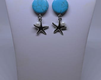 Howlite & Starfish Pendant Fashion Earrings