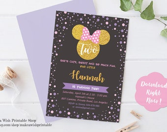 Pink and Black Minnie Mouse Invitation, Minnie Birthday Invitation, Minnie 2nd Birthday Invites, 2nd Birthday Girl, Twodles Birthday Invites