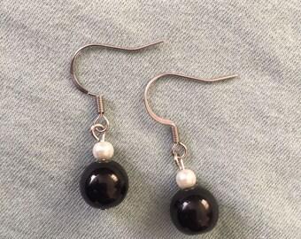 Black and Pearl Bead Earrings