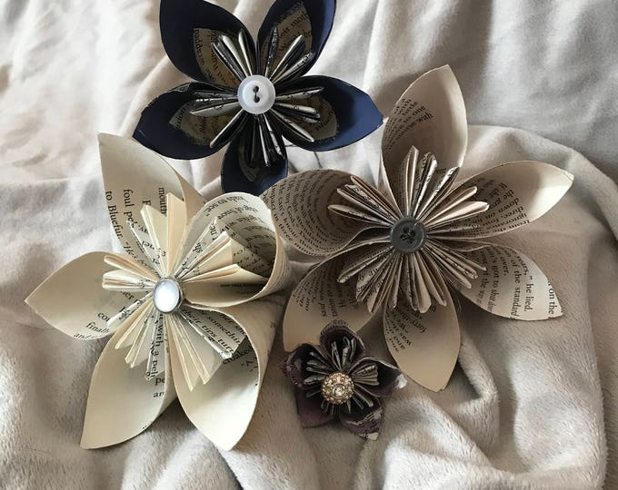 Book Page Origami Flowers
