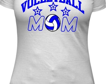 Volleyball Mom Shirt white Volleyball Mom Volleyball mom Shirt sports mom sport mom women shirt blue Vinyl with stars