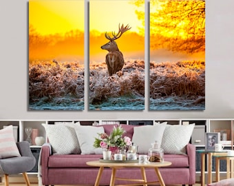 Deer in Forest, Forest canvas, Deer canvas, Autumn canvas, Nature canvas, Landscape canvas, Forest wall art, Deer wall art, Nature wall art