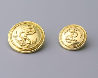 Metal Buttons-10pcs Anchor Metal Shank Buttons Gold Vintage Style Button Coat Button 2 Sizes 22.5/17mm