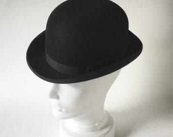 Felt bowler hat - vintage bowler - made in England - stiff felt hat - formal bowler - black derby hat - british gentleman - dandy - S0007