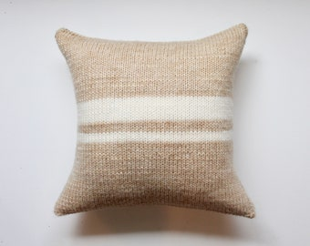 hand-knitted simple stripes throw pillow // decorative pillow // insert and cover