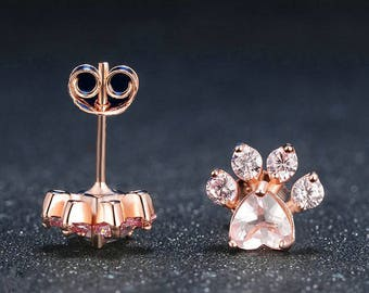 Shiny Rose Earrings CZ Bear Jewelry Dog Paw print Earring Piercing Female Rose Gold Small Animal Earrings for Women