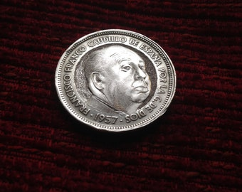 Coin of 50 pesetas hand carved handmade with engraver Alfred Hitchcock