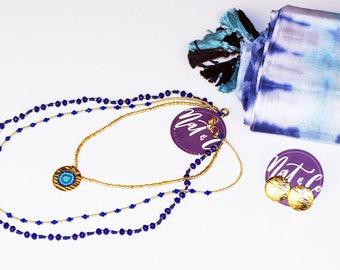 Royal Blue Layered Beaded Jewelry Set