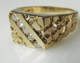 14K Yellow Gold Nugget Style Mens Diamond Ring .35TCW