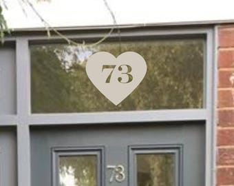 Etched Heart House Number PG69
