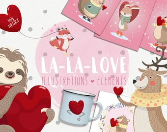 Romantic illustrations, cute sloth, bear, deer, love, vector, valentine's day, Instant download, nursery, baby shower, kids room, clip art