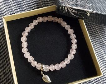 Bracelet in Natural Gemstones - Pink Quartz and silver coloured leaf