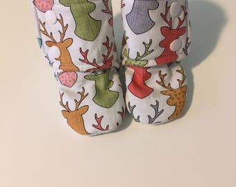 "Stay On Booties - ""Lola"" baby gift, shower gift, unique shoes, Stay on booties, made in Canada"