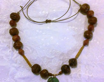 Natural necklace, walnuts,