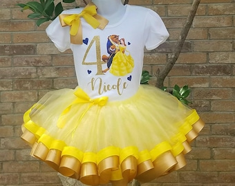 Beauty and the Beast TuTu Set, Princess Belle .Beauty in the beast birthday theme