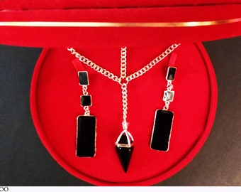 JEWELRY SETS Earrings Necklace Gold Color Black Stone A1