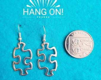 Handmade Tibetan Silver Jigsaw Earrings