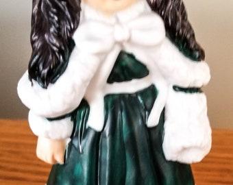 House of Lloyd, 1991 Christmas Around the World, Commemorative 1987 Doll Figurine, Christmas Collection, Green Dress, Dark Hair