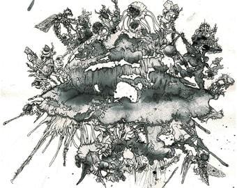 Dark Island-Original artwork (watercolor and Fineliner on watercolor paper)