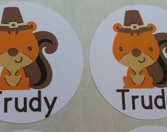 Personalized Fall Squirrel Stickers for Back to School, Name labels, cards, etc set of 20