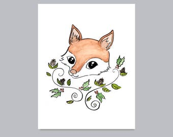 Woodland Fox with Holly Berries Print
