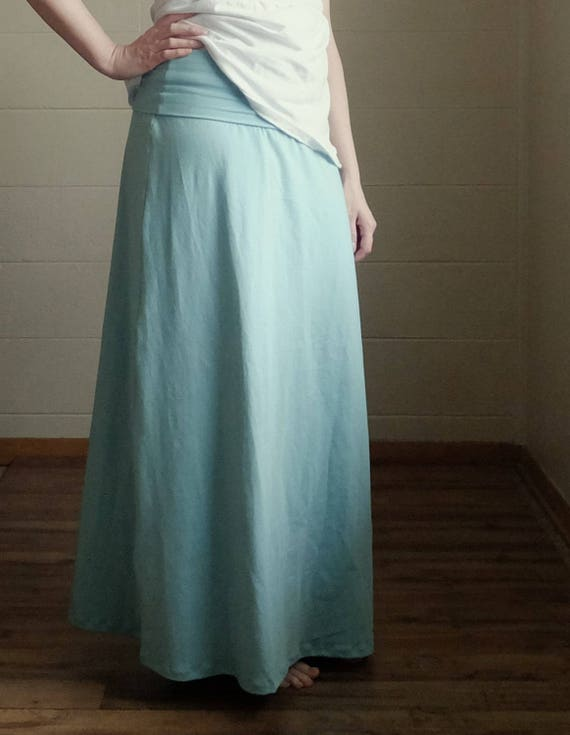 Cotton Maxi Skirt wide Fold over Waistband stretch Jersey Aline Skirt ankle length skirt floor length maternity maxi Made to Order
