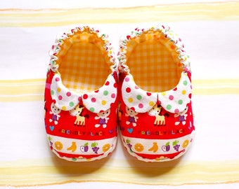 Red Fabric Baby Booties with Elastic - Vintage Cute Children's Fabric Print