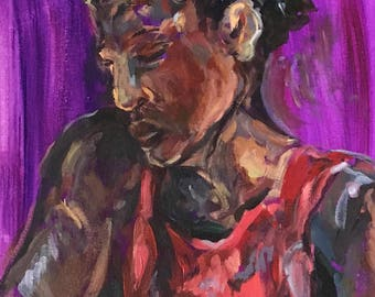 Satyr expressionistic acrylic painting in browns, reds, purples and blues