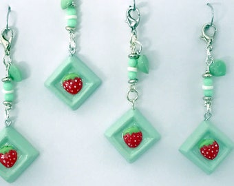 Strawberry Mint Charm Dangle | Girl Gift | Chunky Charm | Scissor Keeper | Planner Accessory