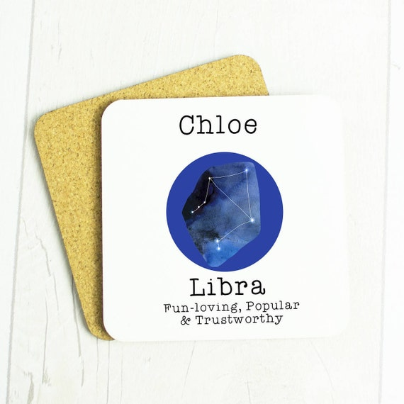 Personalised Libra or Scorpio gift coaster, star constellations, lovely star sign gift