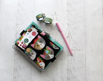 Cat lady gifts - kitty pencil pouch - planner pen pouch - black planner - planner cover - cat bag - cat planner