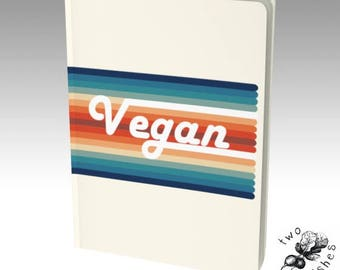 Vegan Retro Rainbow Vintage Large Notebook - Plain, Ruled, Grid, Bullet Journal