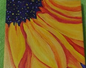 RESERVED Sunflower original acrylic painting,  small sunflower on Canvas 6 x 6 , sunflower art, sunflower decor,