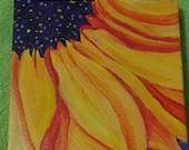 RESERVED Sunflower original acrylic painting,  small sunflower on Canvas 6 x 6 , sunflower art, sunflower decor,