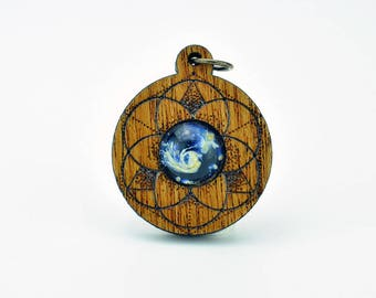 Seed of Life Mahogany and Blown Glass and Laser Cut Pendant
