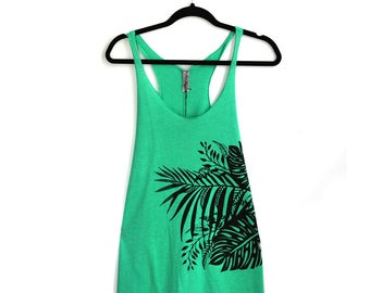 Large- Heather Green Tri-Blend Racerback Tank with Tropical Print Screen Print