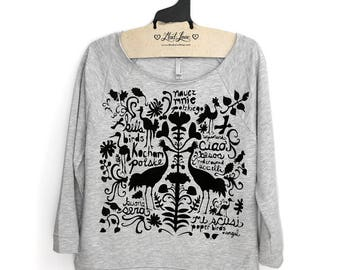 SALE Small- Heather Gray Terry Raw-Edge 3/4-Sleeve Raglan with Wycinanki Folk Art - very slight misprint