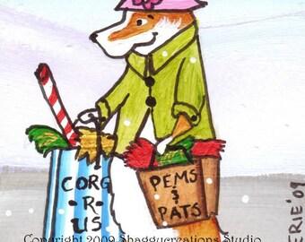 "PEMBROKE WELSH CORGI  Art Print Corgi Christmas Shopper Corgi Art Print ""City Sidewalks""  Dog Art  Dog Lovers Gift Holiday Dog Art Print"