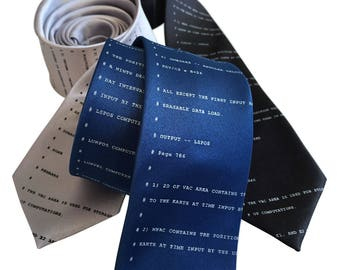 Apollo 11 Code Necktie. NASA Astronaut Source Code Tie. To the Moon! Lunar Module, space lover gift, developer gift, computer science