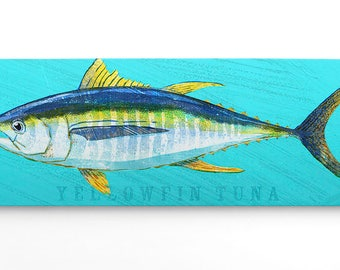 Fishing Gifts for Men- Yellowfin Tuna Art Block- Wife to Husband Gift- Saltwater Fish Art- Art on Wood- Gifts- for Dad Gifts from Daughter