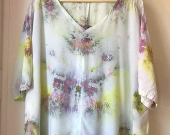 Hand Dyed V-Neck Blouse in Pink Lemonaide, Bat Wing, Anna Joyce, Portland, Or